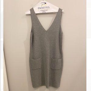 Theory V-Neck Grey Sweater Dress with Pockets
